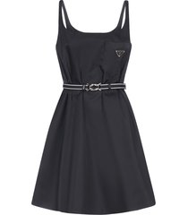 prada logo-plaque belted re-nylon dress