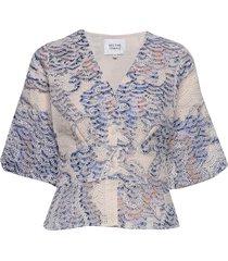 delina ss blouse blouses short-sleeved blå second female