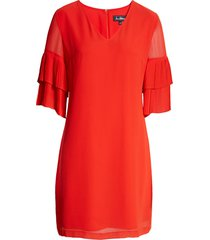 women's sam edelman pleat sleeve shift dress, size 8 - red