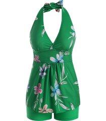 flower print plunge halter empire waist tankini swimwear