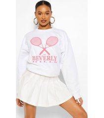 oversized beverly hills tennis sweater met tekst, wit