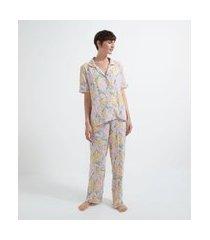 pijama blusa manga curta com botões e calça em viscose estampa floral | lov | rosa | p