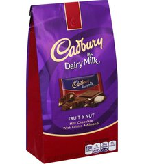 cadbury dairy milk fruit and nut pouch 5.4 oz (pack of 6) + (6 pack of m&m milk