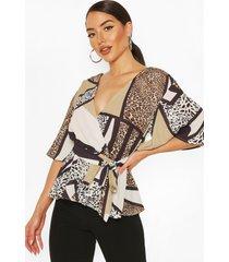 animal print frill sleeve blouse, brown