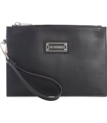 les hommes leather clutch w/logo on front