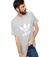 remera  gris  adidas originals trefoil t-shirt