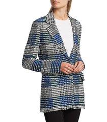 st. john ribbon plaid knit jacket - vivid blue - size 8