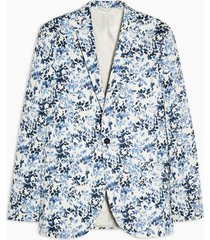 mens grey blue floral print skinny fit single breasted suit blazer with notch lapels