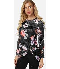 frente cruzado negro diseño liso redondo cuello camisetas de manga larga de terciopelo floral