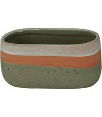 cachepot cerâmica rose stripe cinza 13,5x7,5x6,5cm
