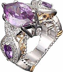 anillos amatistas gemas artificiales semi precioso aaa cristal-púrpura
