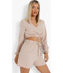 linnen look crop top met strik en shorts, sand