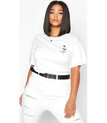 plus stay wild rose pocket print t-shirt, white