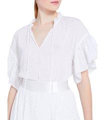 alice + olivia women's julius ruffle-sleeve top - white - size s