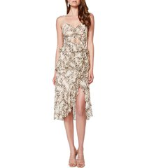 bardot briana keyhole front cocktail dress, size large in nude leopard at nordstrom
