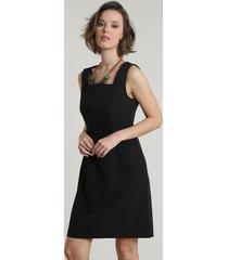 vestido feminino básico curto com recortes sem manga preto