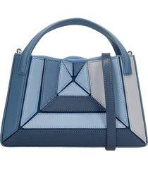 mlouye mini sera tote hand bag in blue leather