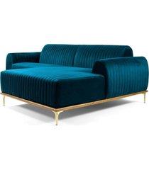 sofã¡ 3 lugares com chaise esquerdo base de madeira euro 230 cm veludo turquesa - gran belo - azul - dafiti