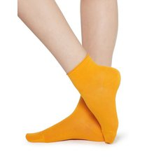 calzedonia extra short flat-knit bandless cotton socks woman orange size tu