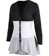 button up v neck colorblock plus size cardigan