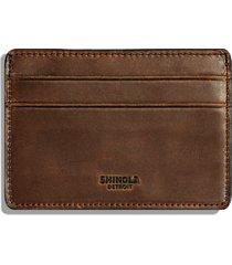 men's shinola leather card case - brown