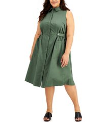 alfani plus size collared fit & flare dress, created for macy's