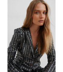 na-kd party sequin glittery blazer - black