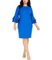 calvin klein plus size tiered bell-sleeve dress