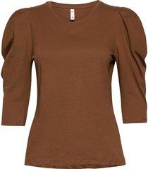 pzclarissa t-shirt t-shirts & tops short-sleeved brun pulz jeans