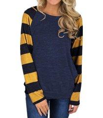 zanzea mujeres cuello redondo a rayas de manga larga tops blusa de la camisa suéter nuevo -azul