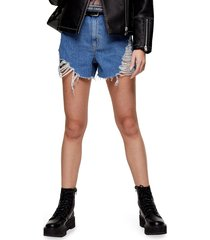women's topshop super ripped mom shorts, size 12 us (fits like 14) - blue