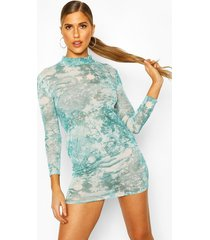 dragon print mesh bodycon dress, green