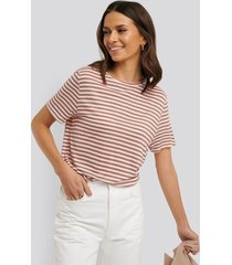 na-kd basic striped viscose tee - pink
