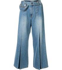 sjyp belted pocket wide jeans - blue