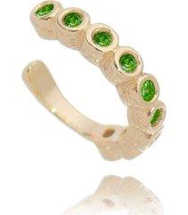brinco piercing fake cristais esmeralda banhado a ouro 18k