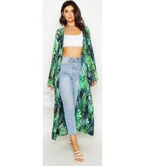 palm print side split kimono, green