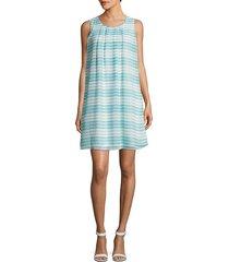 calvin klein women's sleeveless striped shift dress - sea spray - size 6