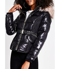 river island womens black quilted belted padded jacket