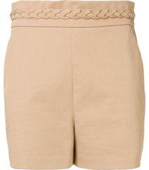 redvalentino braided waistband shorts - neutrals