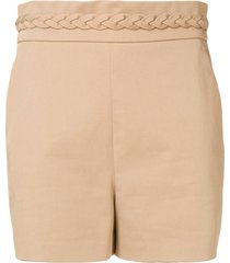 redvalentino braided waistband shorts - neutrals