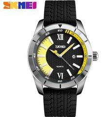 reloj de cuarzo informal para hombres de negocios-amarillo