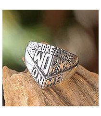 men's sterling silver ring, 'dreams work on me' (indonesia)
