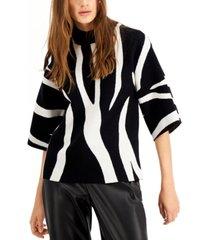 alfani petite zebra-print sweater, created for macy's