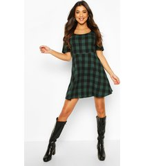 flannel skater dress, green