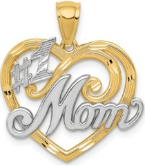 1 mom heart charm 14k yellow gold and rhodium