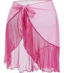 color blocking flounces sheer mesh plus size beach sarong
