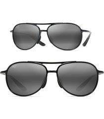 men's maui jim alelele 60mm aviator sunglasses - black gloss/ neutral grey