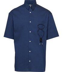 over short sleeve shirt overhemd met korte mouwen blauw tonsure