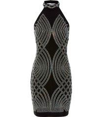 abito elegante con scollo all'americana e strass (nero) - bodyflirt boutique