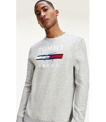 tommy hilfiger men's performance fleece sweatshirt grey heather - xl
